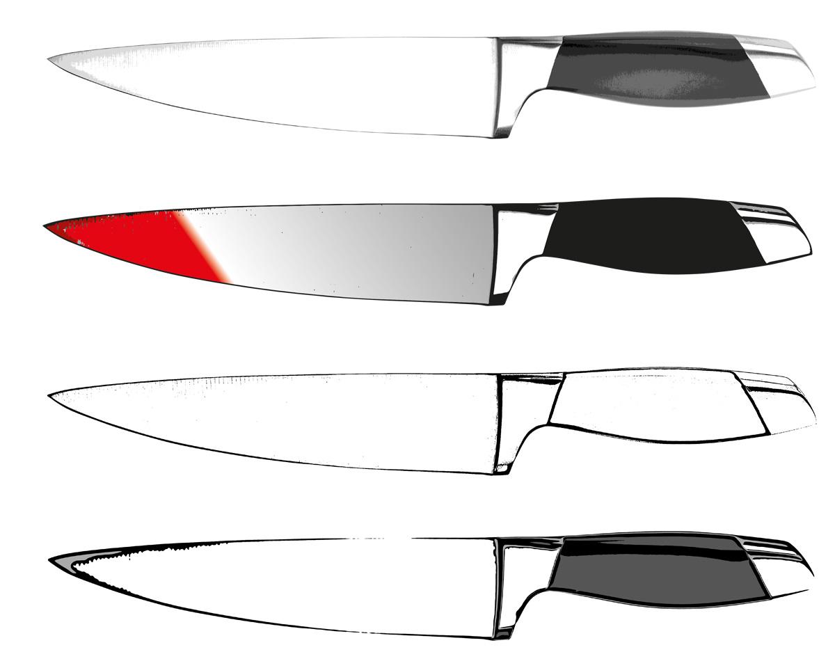 Illustrator Zeichnung eines Messer welches in verschiedenen Darstellungen präsentiert wird.